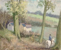 a ride in the country (+ peacock in a country garden; pair) by alan stenhouse gourley