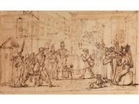 der puppenspieler in der rue de verneuil (recto), stehender soldat im profil (verso) by jean henri marlet