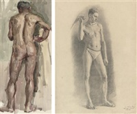standing male nude (+ a male nude from behind; 2 works) by arkadi fyodorovitch martirosov