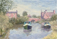 barges on a summer river (+ 9 other; 10 works) by alan stenhouse gourley