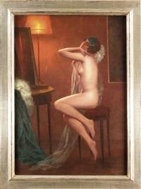 jugendstil-frauenbildnis, sich erotisch streckende junge frau mit einem transparenten schleier by eduard ansen-hofmann