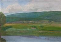 landschaft bei thielle – im vordergrund der zihlkanal by gustave jeanneret