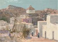 an eastern street scene by alan stenhouse gourley