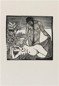 faun und nymphe i / mann und mädchen ii / dionysos und ariadne iii oder 1963 (3 works) by gerhard marcks