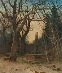 blick auf ein brunnendenkmal mit heiligenfigur in abendlicher herbstlicher parklandschaft by karl theodor reiffenstein