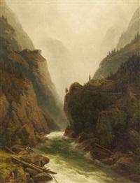 angler am wildwasser im gebirge by johann wilhelm lindlar