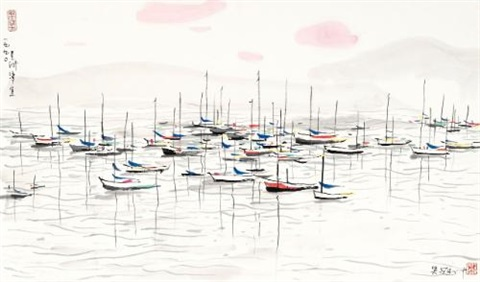 a seaside scene of changi of singapore by wu guanzhong