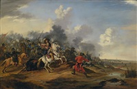 a battle scene between christians and ottomans by dirk stoop