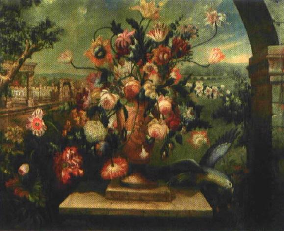blumenstrauss mit rosen tulpen lilien und anderen in antiker vase im hintergrund ruinen einer. Black Bedroom Furniture Sets. Home Design Ideas