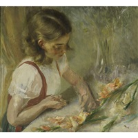 untitled (a young girl trimming flowers) by john koch