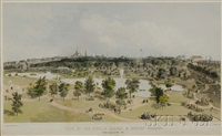 view of the public garden and boston common from arlington st. by john henry bufford
