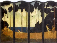rose valley (folding screen in 4 parts) by elenore plaisted abbott
