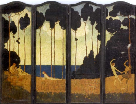 rose valley folding screen in 4 parts by elenore plaisted abbott
