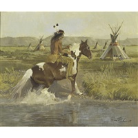 native american rider and pinto in landscape by don ricks