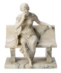 joven sentada en el banco by guglielmo pugi