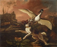hunting scene with landseer and heron by abraham danielsz hondius