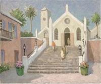 a mediterranean harbour (+ a mediterranean church; pair) by alan stenhouse gourley