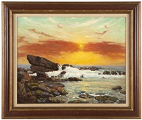 rocky coastal at sunset by charles l.a. smith