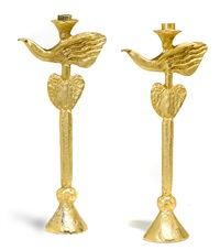 bird candlesticks (pair) by pierre casenove