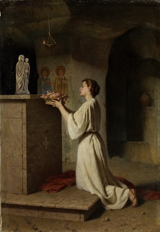 junges mädchen einen blumenkranz einer madonnenstatue darbietend by girolamo nattino