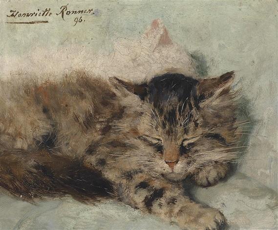 zwei schlafende kätzchen by henriette ronner knip