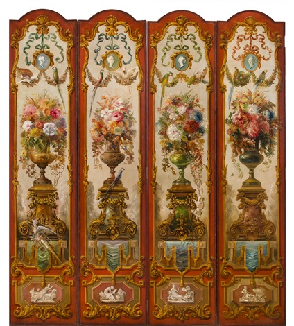 four panels of a ten panel decorative screen from the ballard house louisville kentucky by everett shinn