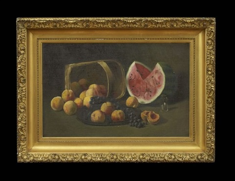 still life with peaches grapes and watermelon by paul cornoyer
