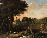 landscape with women and satyrs by herman van swanevelt