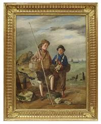 Fiskarpojkar vid vattenbrynet