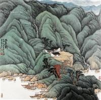 幽居图 镜架 设色纸本 by xi lequn