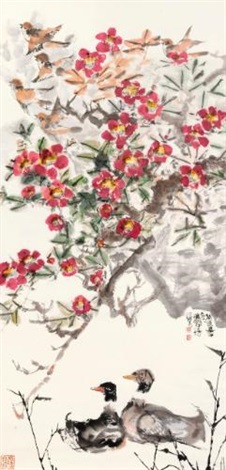 ducks under spring blossoms by cheng shifa