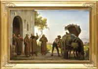 mönche mit weinhändler bei einer weinprobe vor dem kloster by arnoldo corrodi