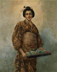 geisha med tebricka by george dunlop leslie