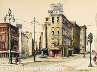 hotel at corner of canal, south peters and tchoupitoulas streets, new orleans by rolland harve golden
