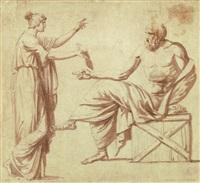 Antike Szene - Junge Frau überreicht dem...