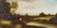 flusslandschaft mit einer brücke und figurenstaffage by charles robert leslie