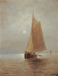 coastal nocturne, new york city(?) by elbridge wesley webber