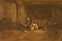 am abend. bauernkinder vor einem schafstall by pierre camoin