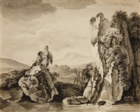 shepherds and anglers in a mountainous landscape by deodat roger