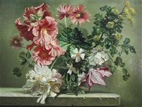 hollyhocks and clematis by bennett oates