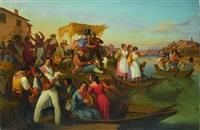 künstlervolk und fischerfrauen vor einer osteria am tiberufer by heinrich leibnitz