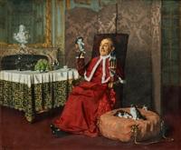 kardinal med kattor by maurice joron