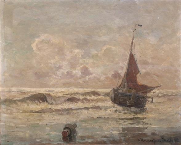 segelboot auf bewegter see by gerhard arij ludwig morgenstjerne munthe