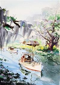 shrimp boats on a louisiana bayou by john pike