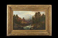 mountain valley landscape with river and deer by american school (19)