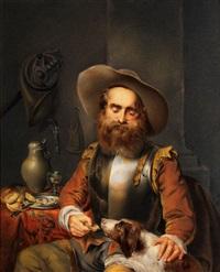 bärtiger mann im harnisch beim füttern seines hundes by carl haag
