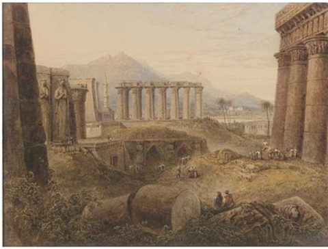 ruins at thebes egypt by milo de ros