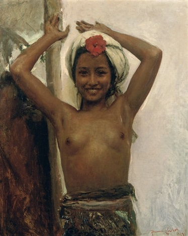 young balinese girl with hibiscus by romualdo locatelli