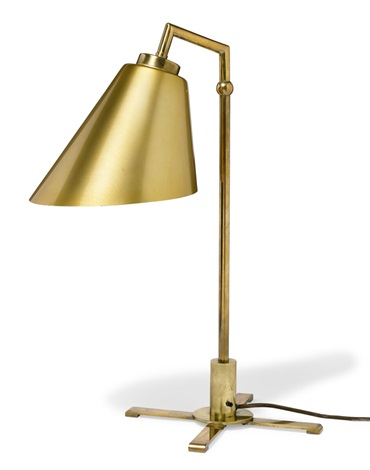 A Polished Brass Table Lamp With Adjustable Conical Shade By Frits