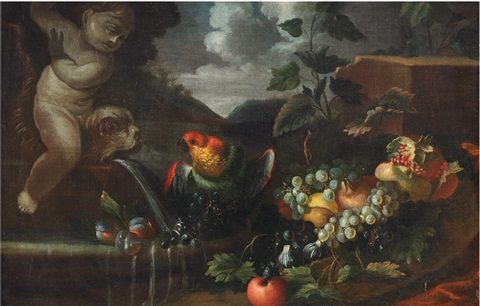 fruit still life with parrot by abraham brueghel